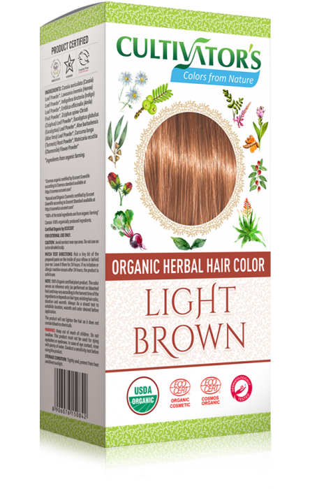 Organic Herbal Hair Color, Light Brown