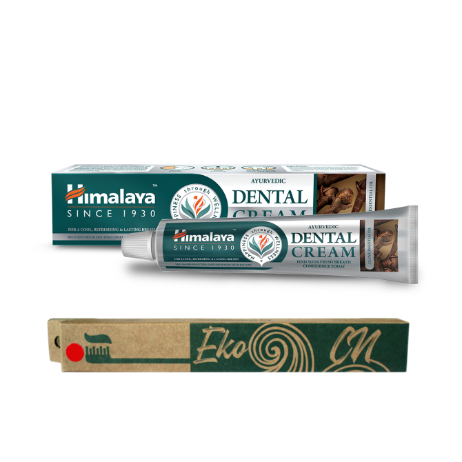 PROMO: Bamboo toothbrush for Adults + Ayurvedic Dental Cream with CLOVE esselntial oil