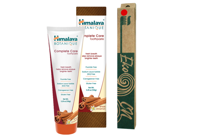 PROMO: Bamboo toothbrush for Adults + Botanique Complete Care Toothpaste - Simply Cinnamon